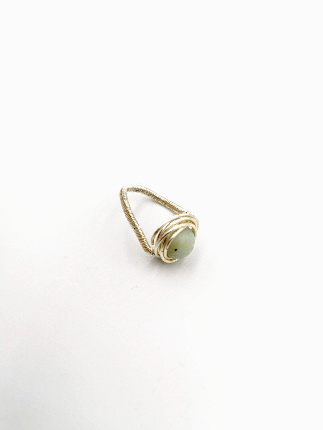Glassy Stone Free-form Pale-Gold Coiled Ring