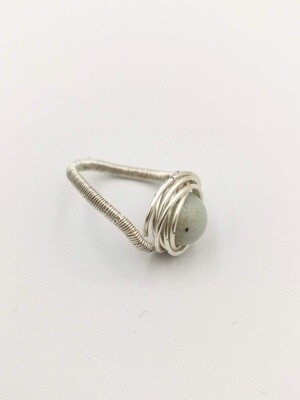 White Marble Stone Free-form Silver Coiled Ring