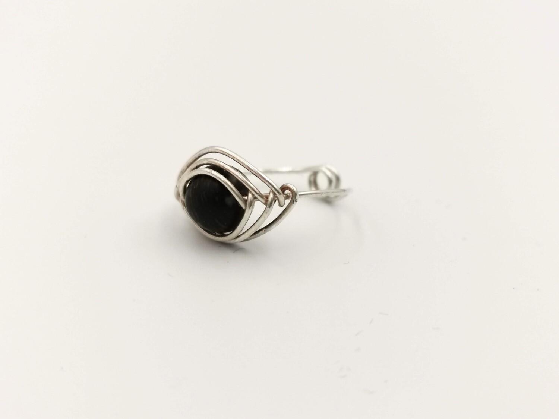 Black Crystal Eye-Shaped Silver Ring