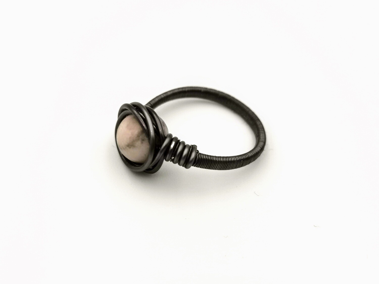 Natural Crystal Dark Silver Ring