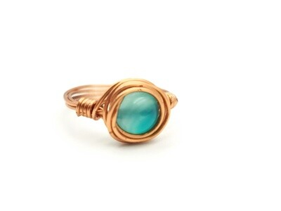 Dark-Turquoise Crystal Copper Coiled Ring