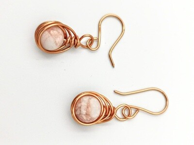 Copper Wrapped Pink Marble Earrings