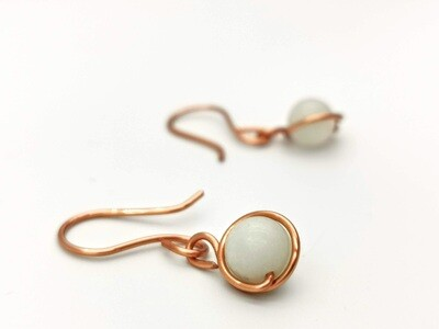 Copper and Marble White Earrings