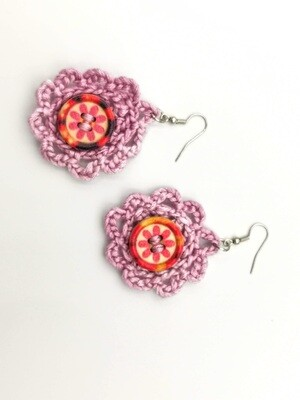 Pink Stitched Button Earrings