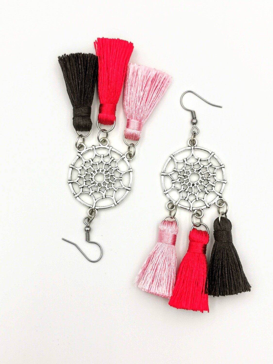 Pink, Red, Black and Silver Dream Catcher Earrings