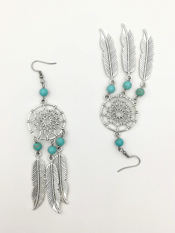 Cyan and Silver Dream-catcher Earrings