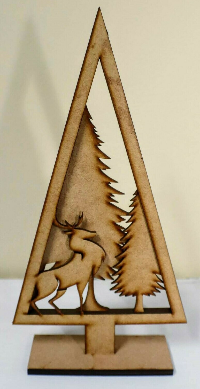 Laser Cut Moose and Tree Ornament