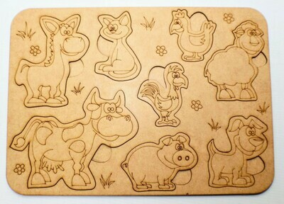Laser Cut Wooden Animal Puzzle