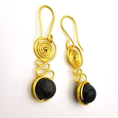 Black Beaded, Coiled Golden Wire Earrings