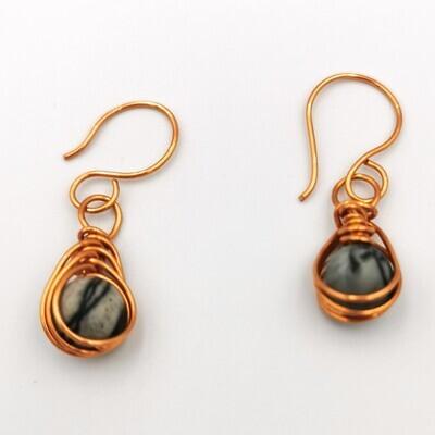 Copper Wrapped Black Bead Earrings