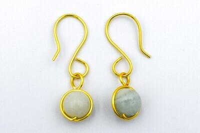 Gold Coloured, White Marble Earrings