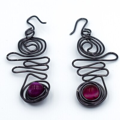 Red Stone Scribble and Coil Earrings