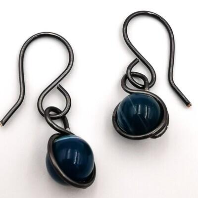 Black and Dark Blue Marble Earrings
