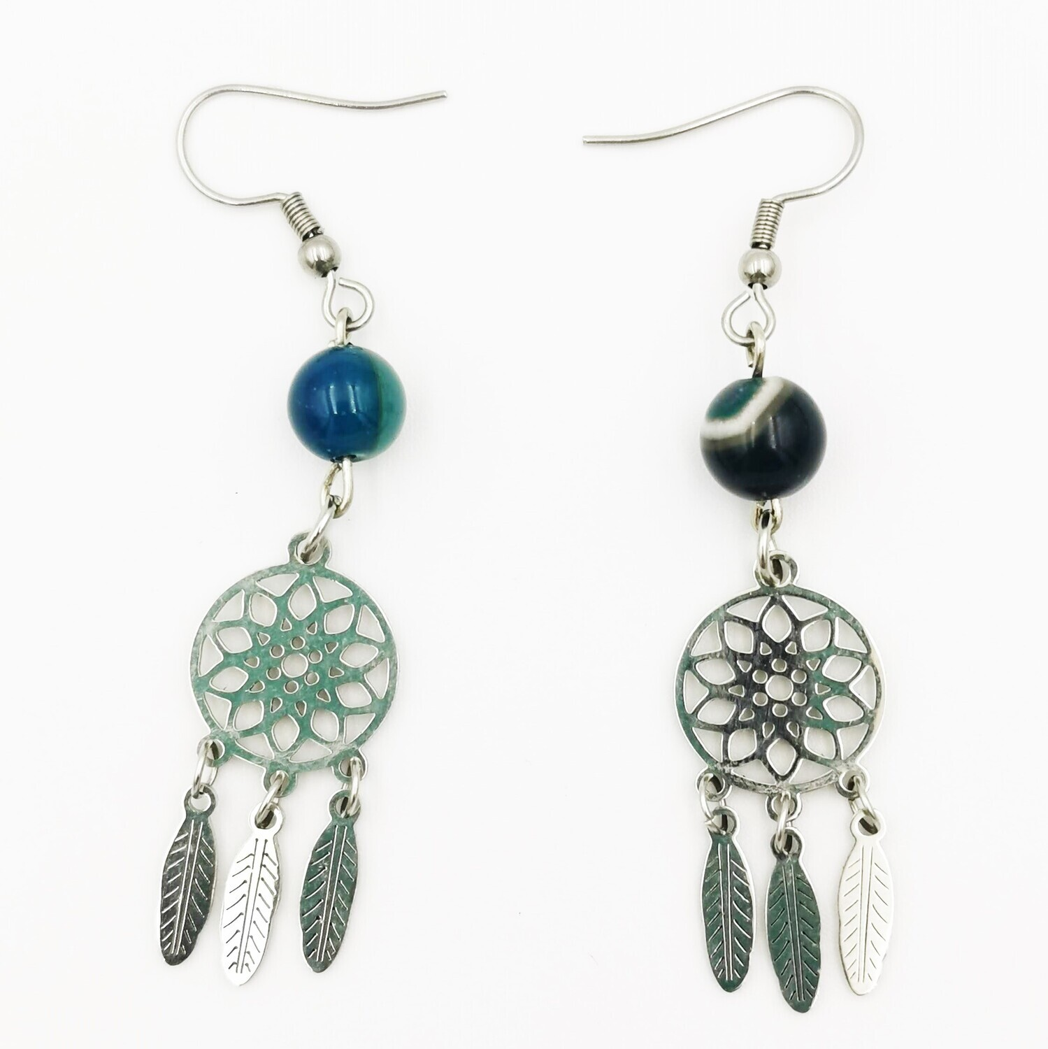 Marble Blue, Silver Feathers and Wheel Earrings