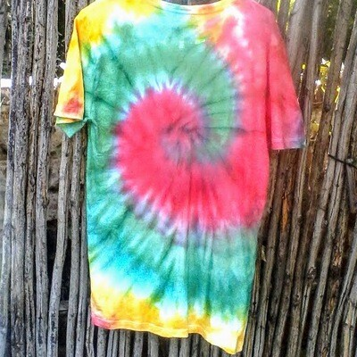 Red, Green and Yellow Tie-dye T-shirt