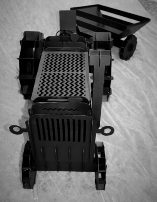 Tractor Firepit / Flower Holder With Trailer