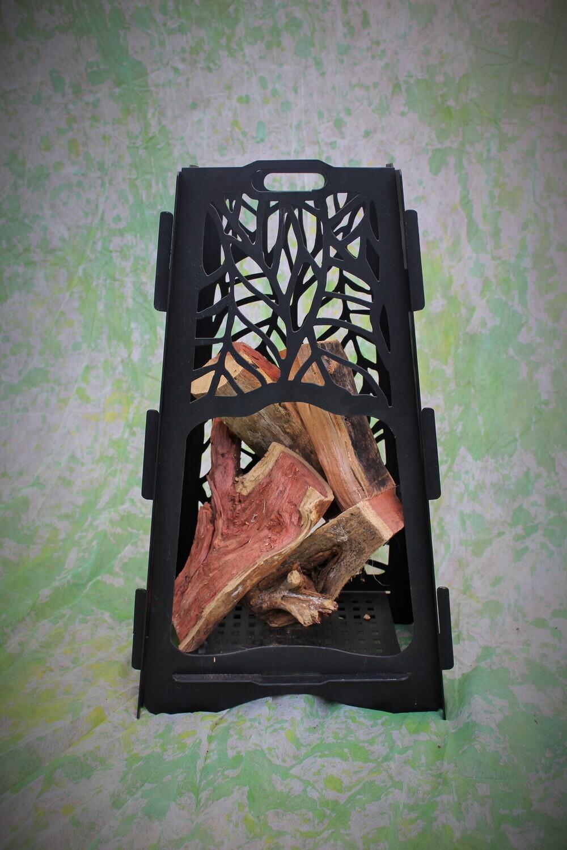 Metalwork Vertical Firepit with Leaf Design