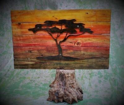 Metalwork Kalahari Tree Sunset Wall Art