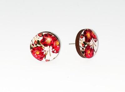 Dome stud earrings: Maroon flower