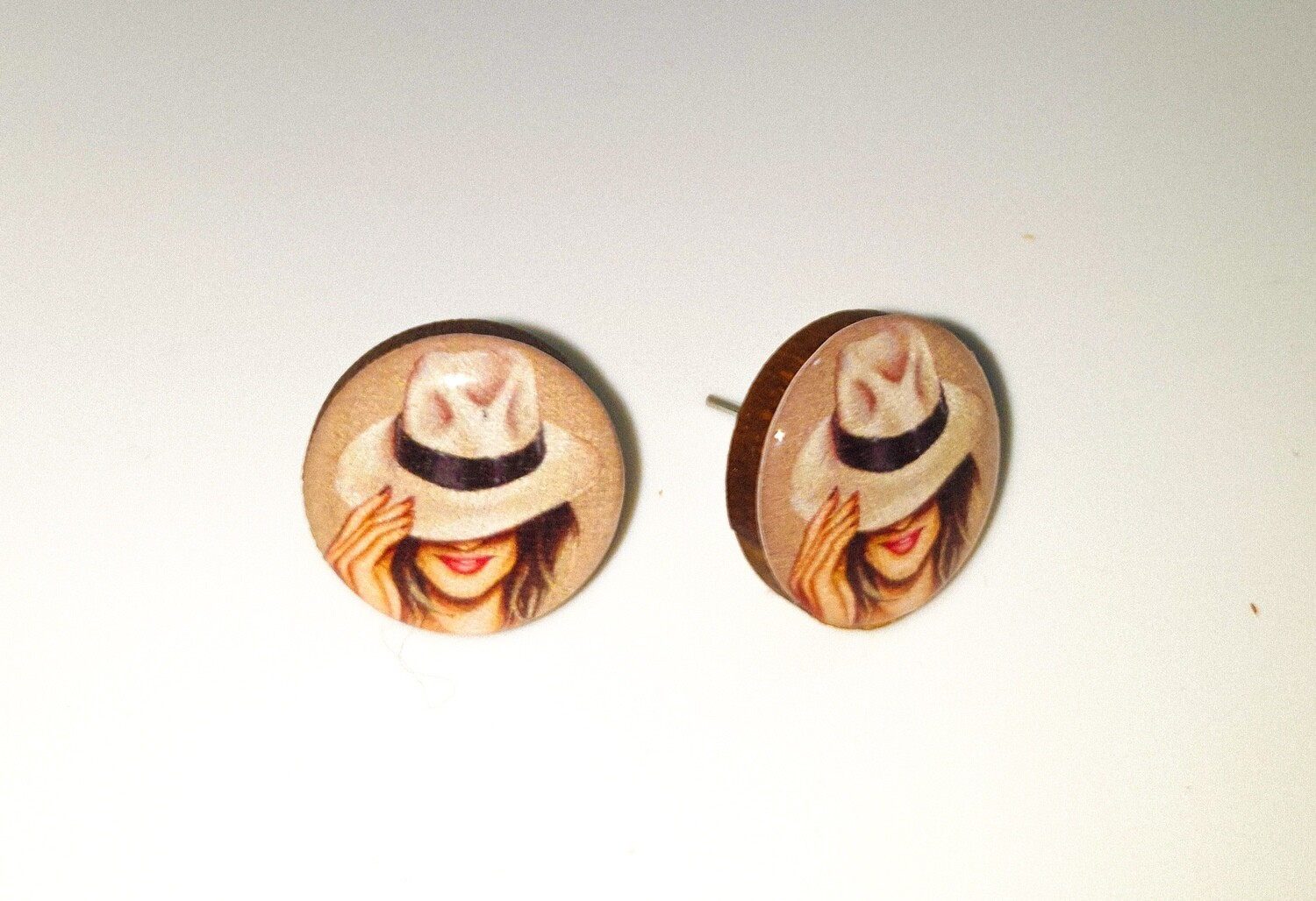 Dome stud earrings: Woman with White Hat