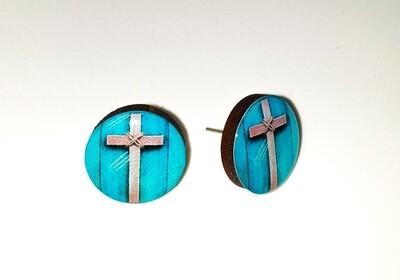 Dome stud earrings: Turquoise Cross