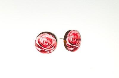 Dome stud earrings: Pink Rose