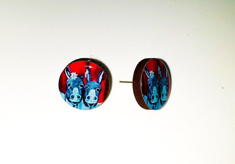 Dome stud earrings: Two Donkeys