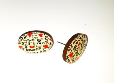 Dome stud earrings: Love words