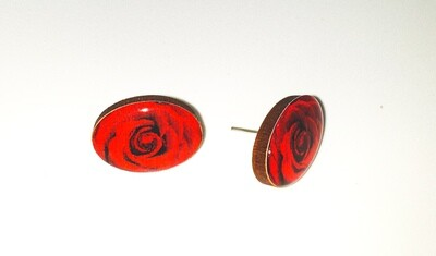 Dome stud earrings: Red rose