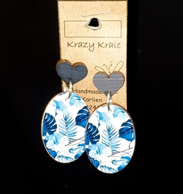 Picture earrings : blue tropical