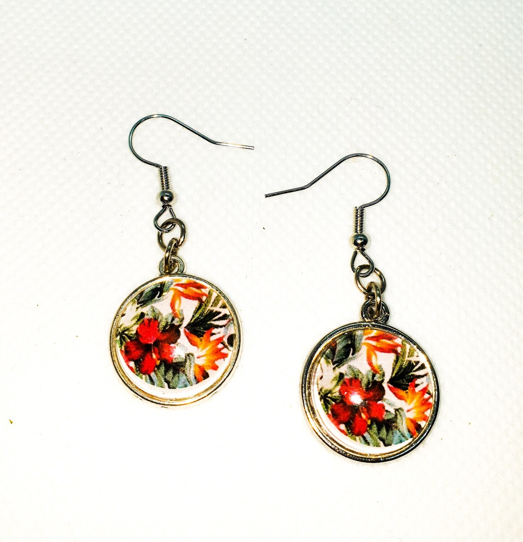 Dome drop earrings: tropical flowers