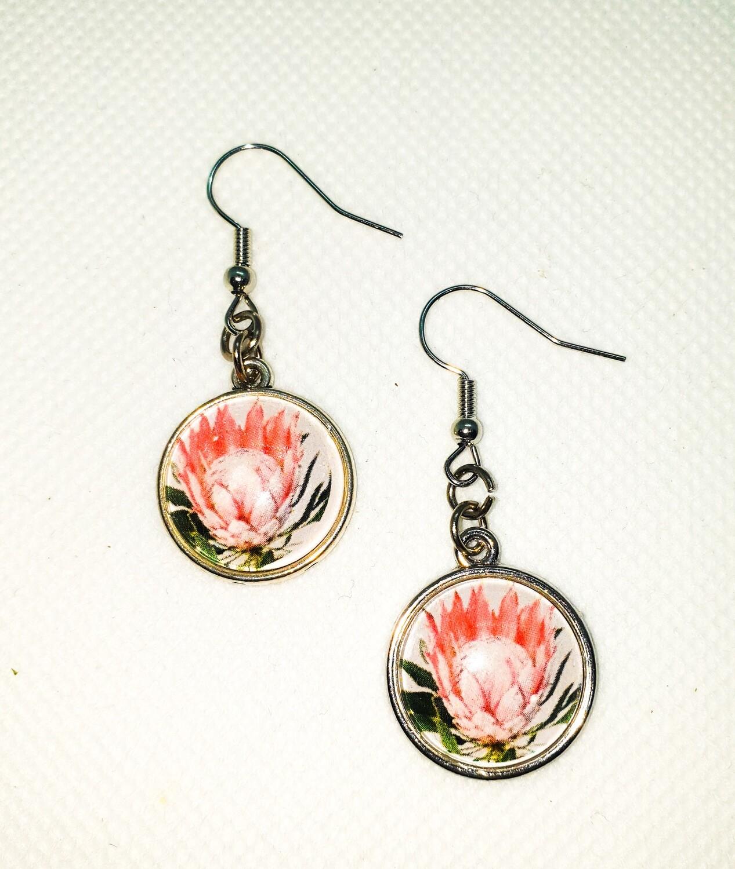 Dome drop earrings: orange protea