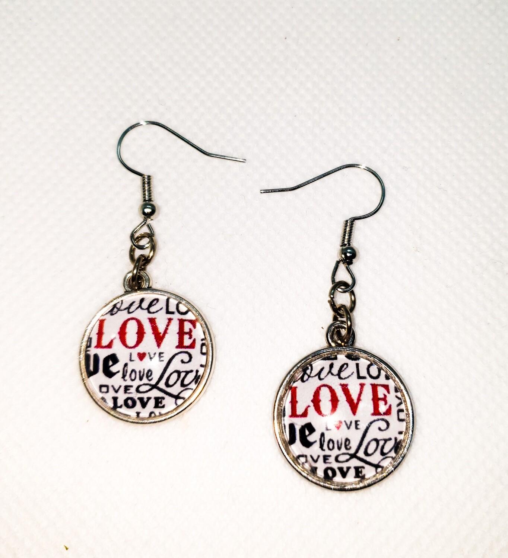 Dome drop earrings: love words