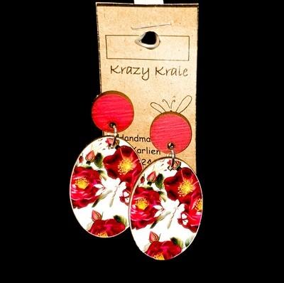Picture earrings : maroon flower