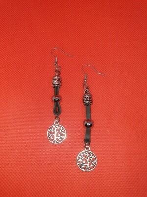 Leather earrings dangle tree of life