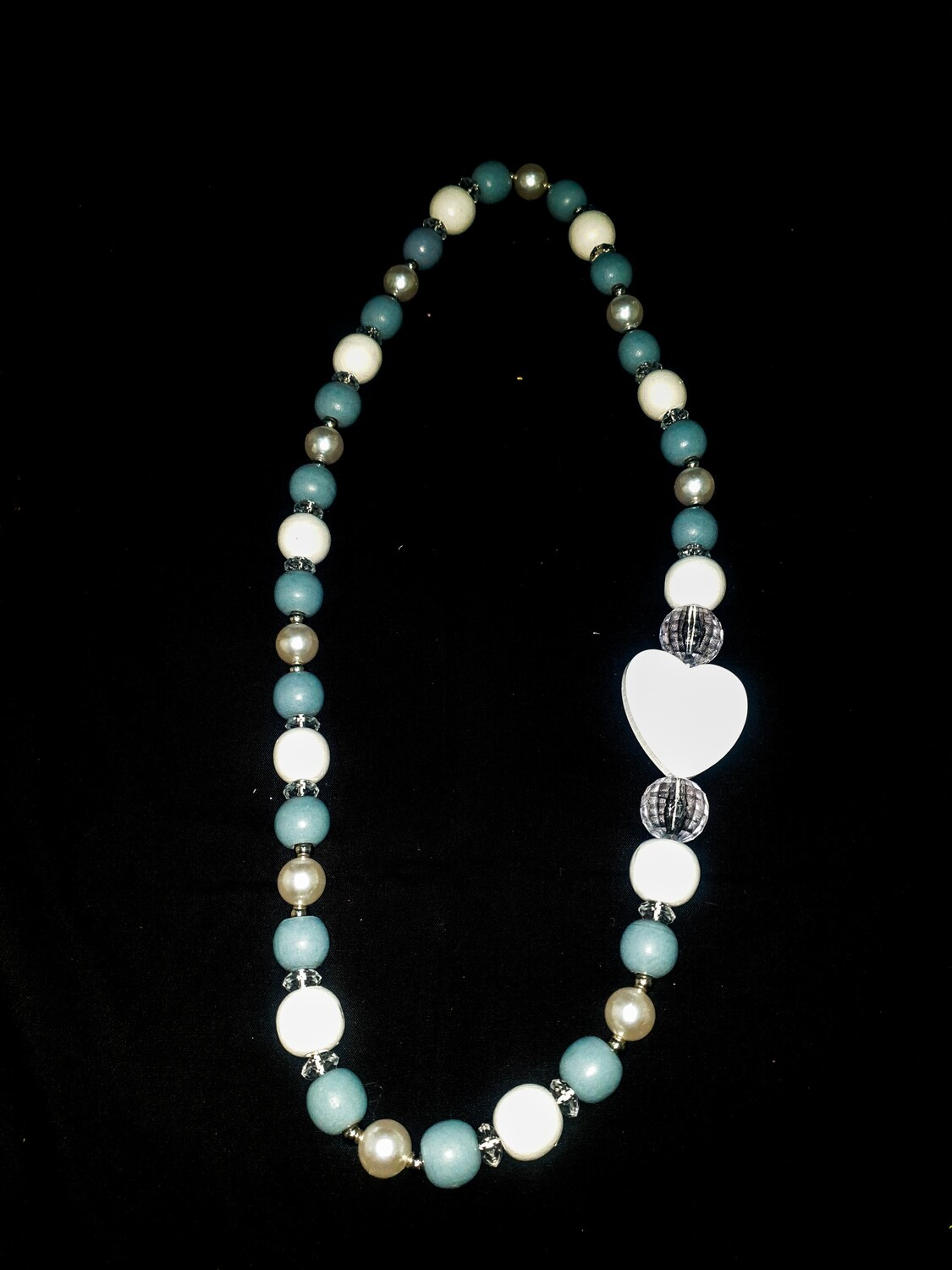 Wooden necklace : turquoise & white