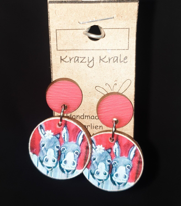 Picture earrings : two donkeys
