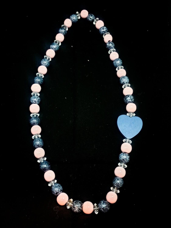 Wooden necklace : denim & white