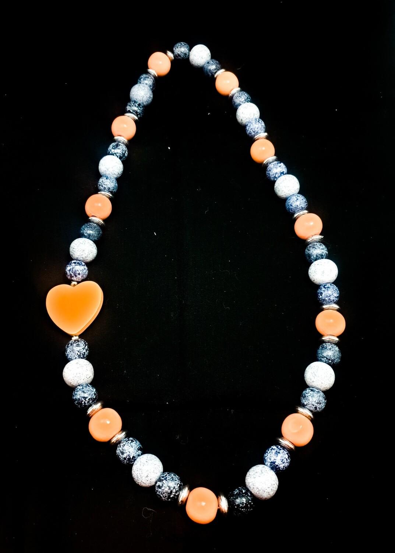 Wooden necklace : white denim peach