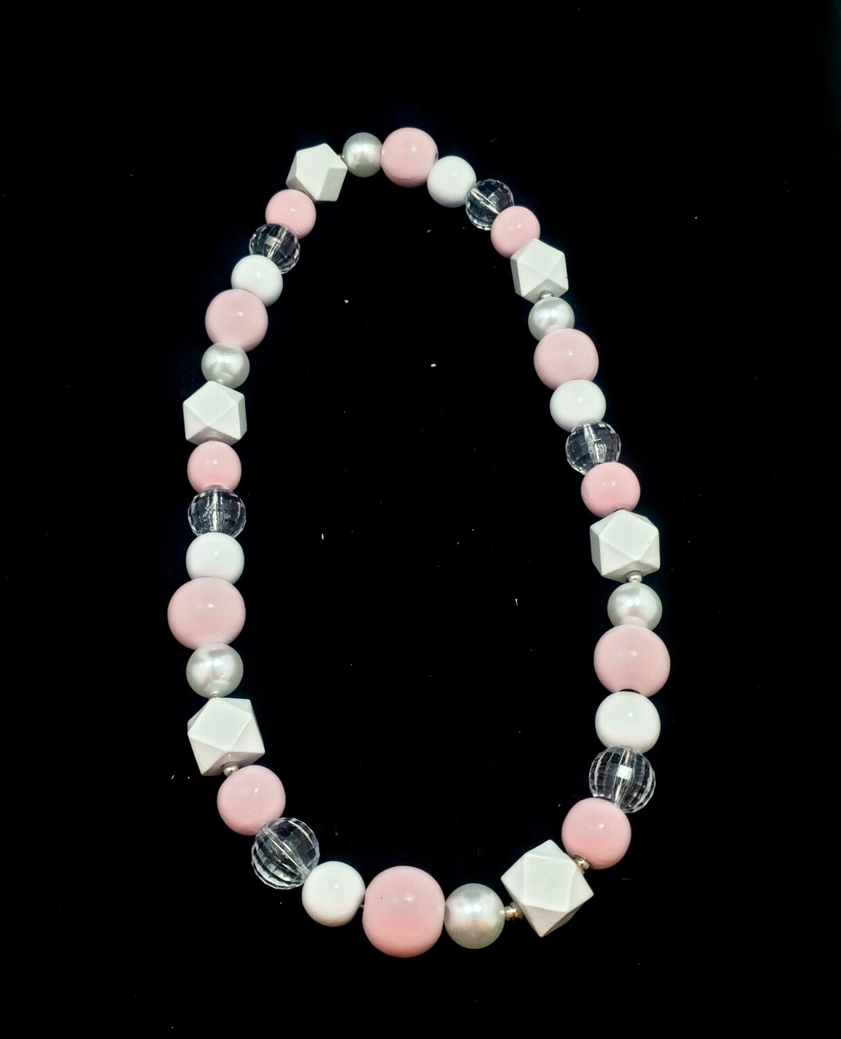 Wooden necklace : pink & white