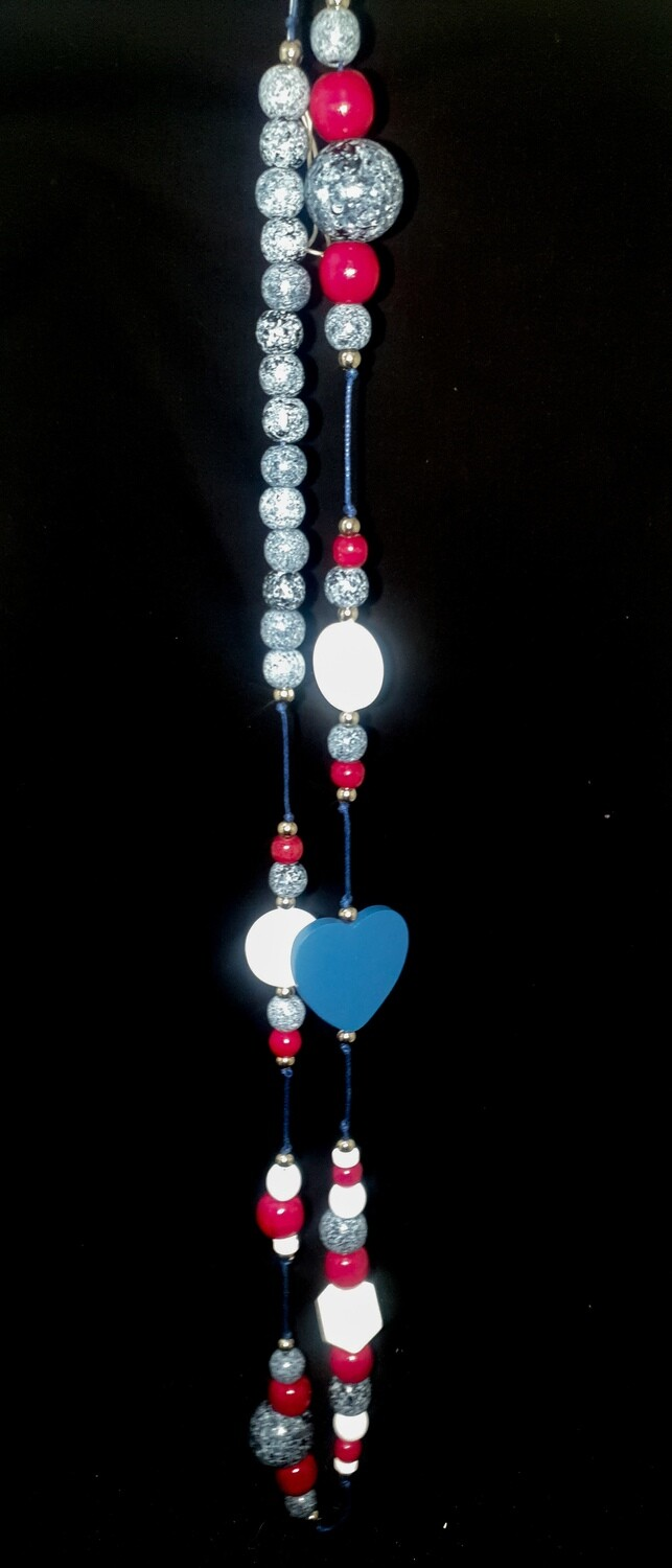 Wooden necklace : marble, red & white