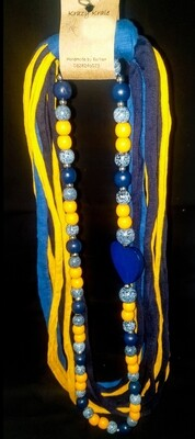T-shirt yarn necklace : yellow & denim