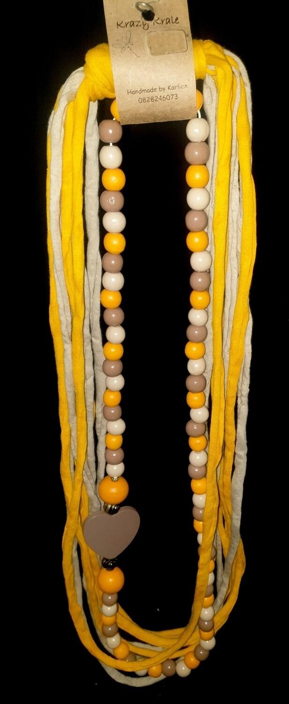 T-shirt yarn necklace : yellow & stone