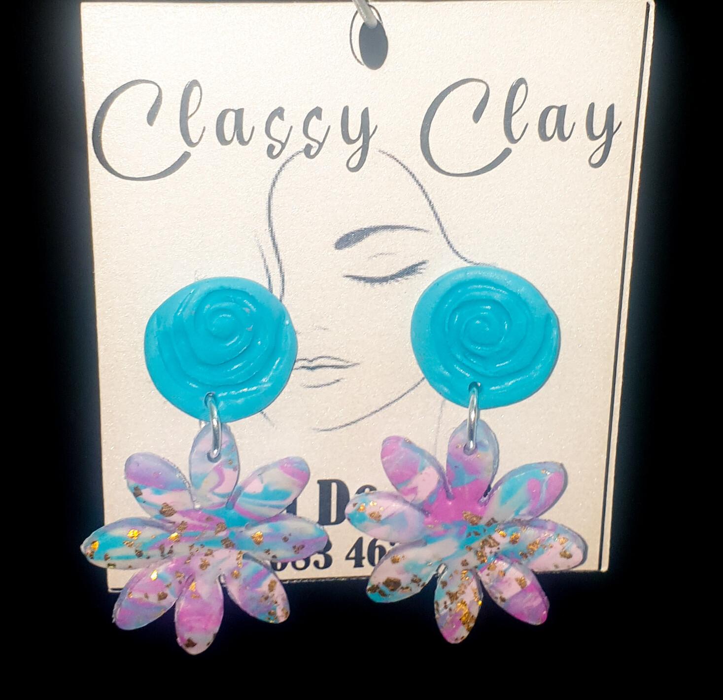 Light blue floral earrings