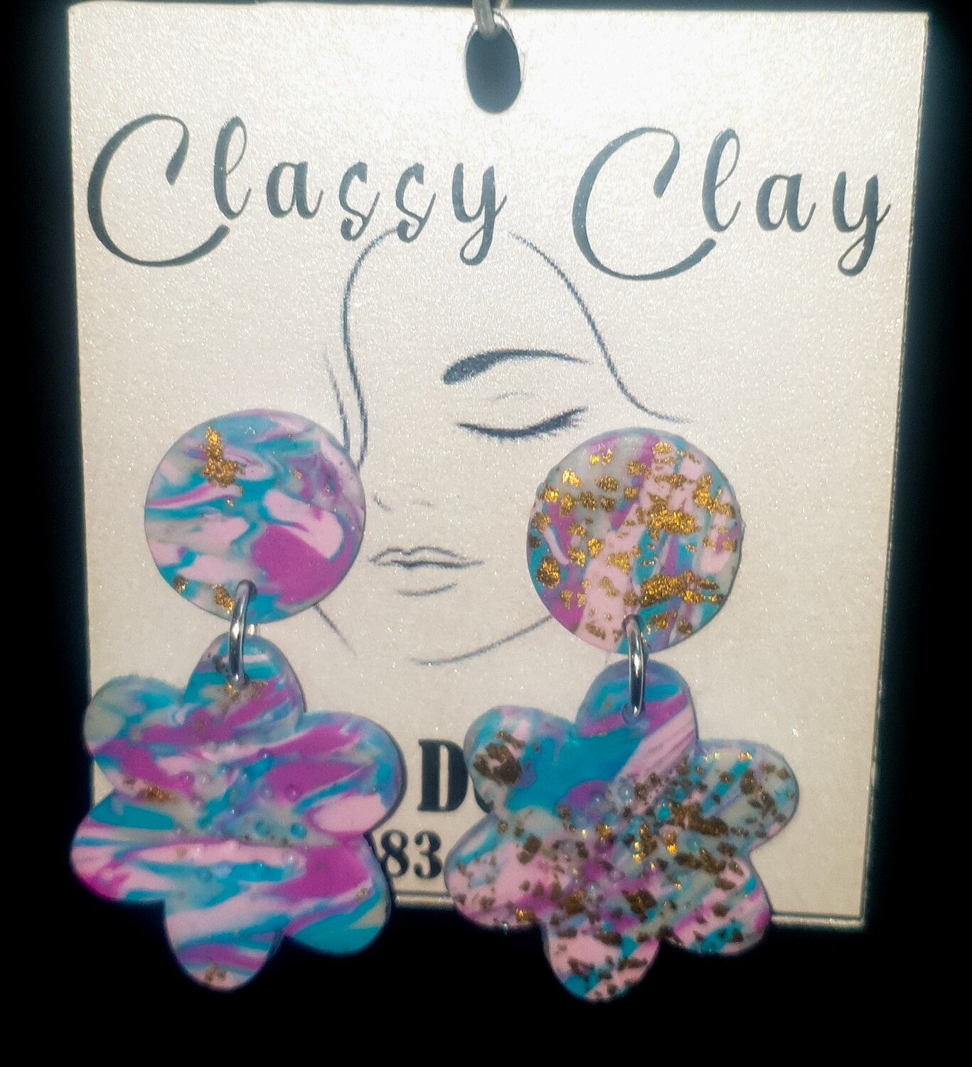 Multi colour flower with round stud earrings