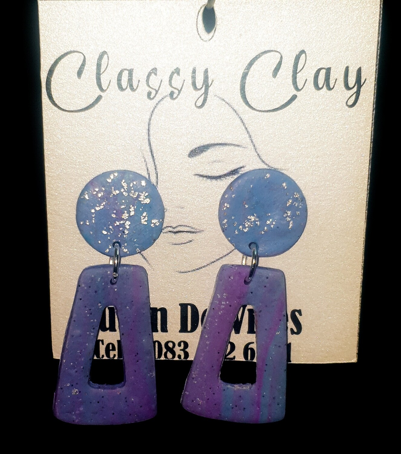 Blue purple Triangle with round stud - hanging earrings