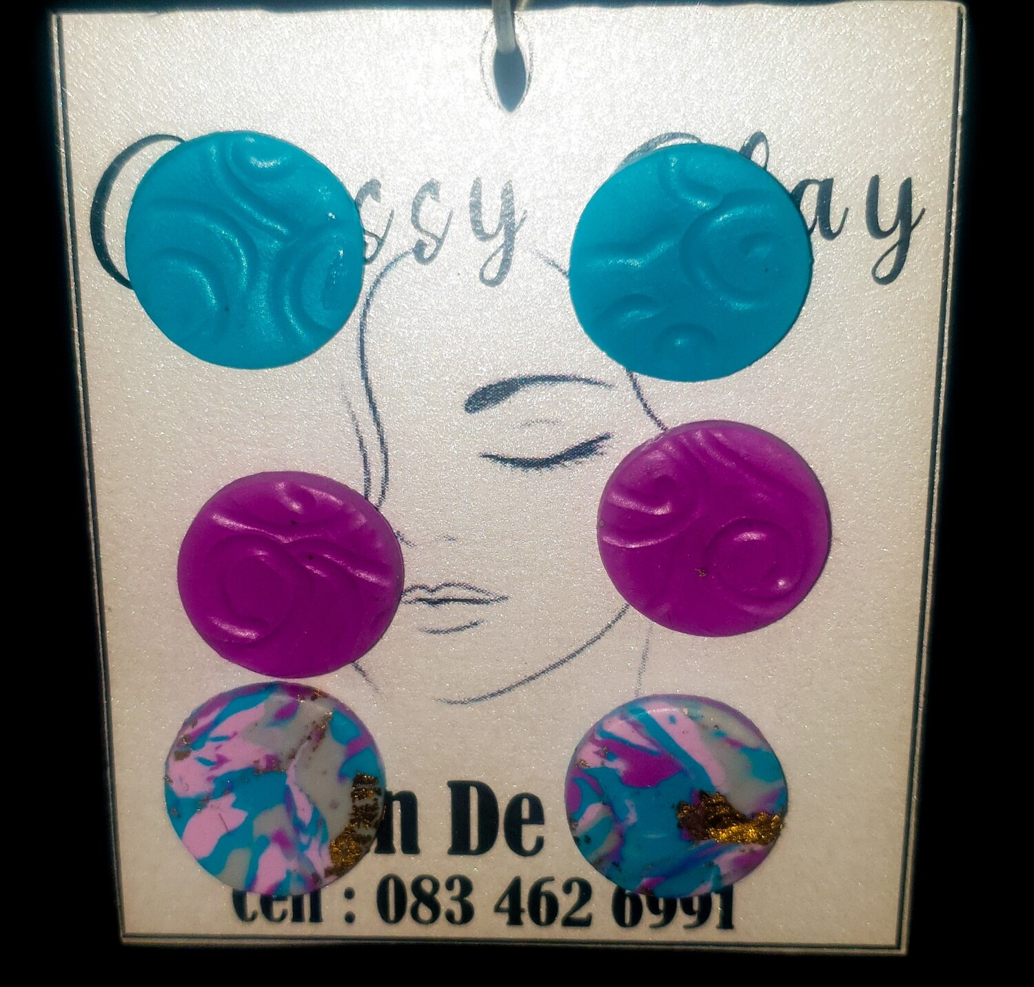 3 pairs round studs, blue pink and blue pink mix earrings