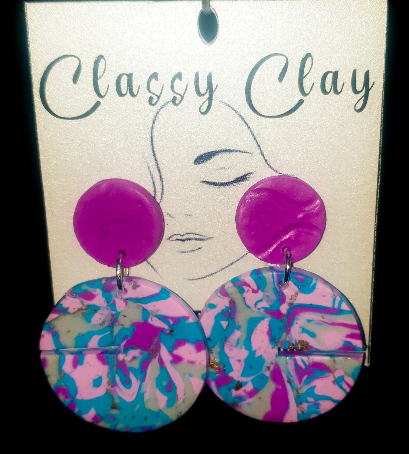 Round pink and blue with hanging with pink stud earrings