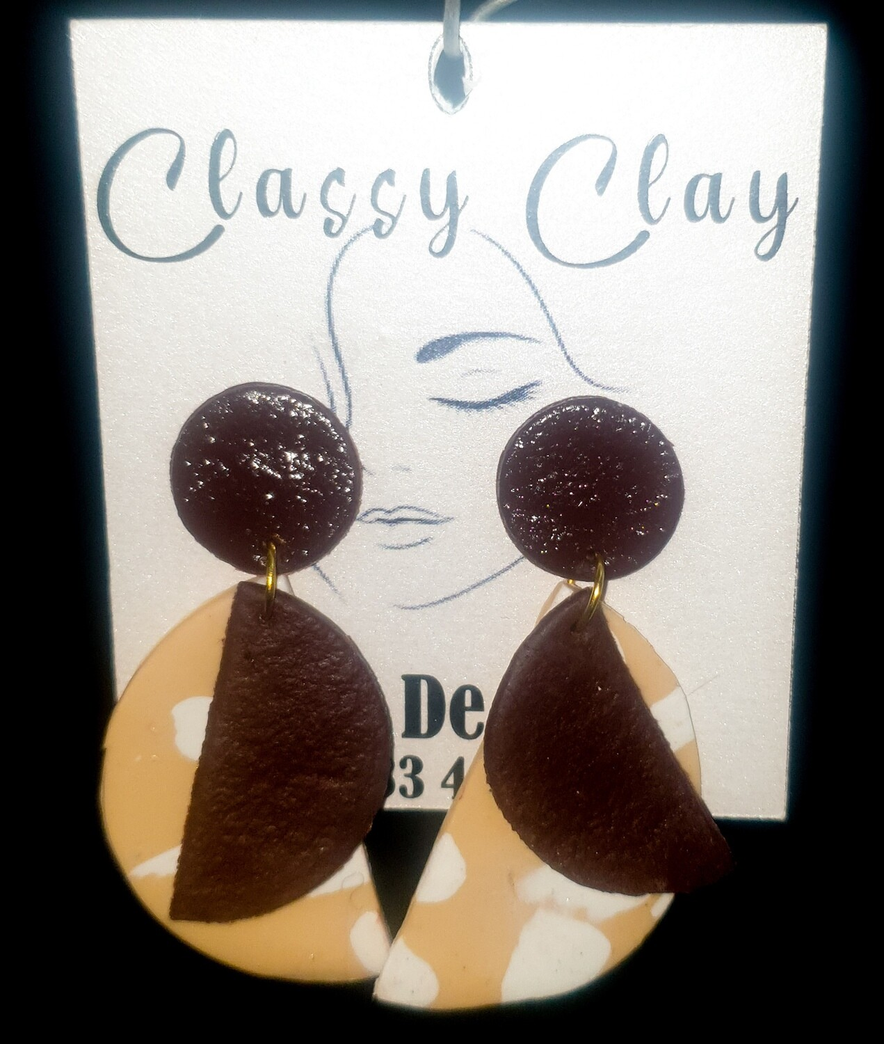 Brown, beige and white half circle with smaller circle earrings