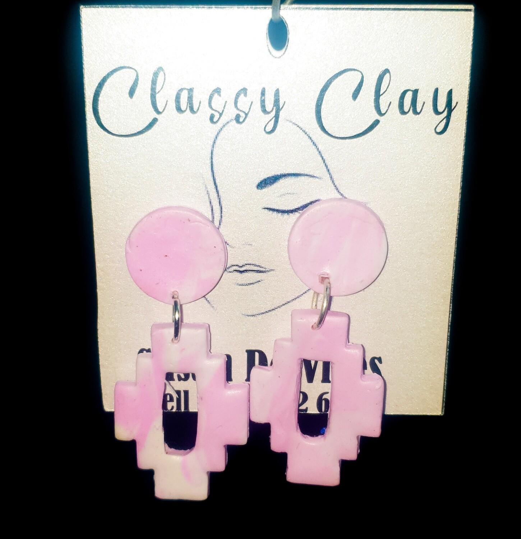 Pink rectangular hanging earrings